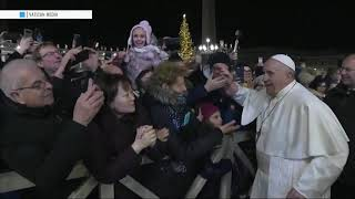 Shortly before beginning his traditional new year's day address , the pope said he was sorry for smacking a woman's hand previous day, to free himself fr...