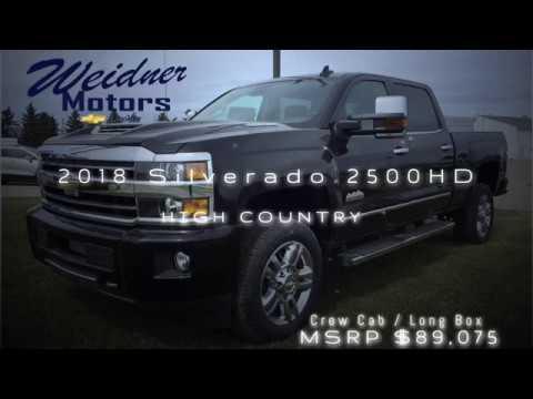 2018 Chevrolet Silverado 2500HD / Crew Cab, Long Box / High Country, 3LZ, Black, 4X4 / 18n220. Weidner Motors Ltd.