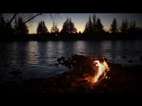 Virtual Scenery: Waterside Campfire at Sunset [1 hr]