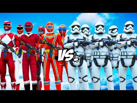 ALL RED POWER RANGERS VS STORMTROOPERS ARMY