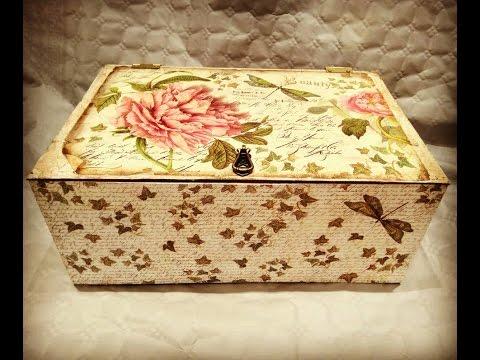 C mo reciclar y decorar caja de frutas vintage decoupage - Como decorar cajas de fruta ...