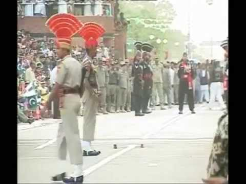 Look!! Angry India Pakistan Border Guards. Threaten Each Other.