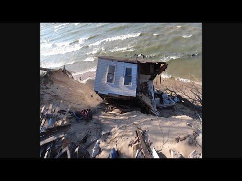 Home Falls Down Sandy Bluff Along Lake Michigan