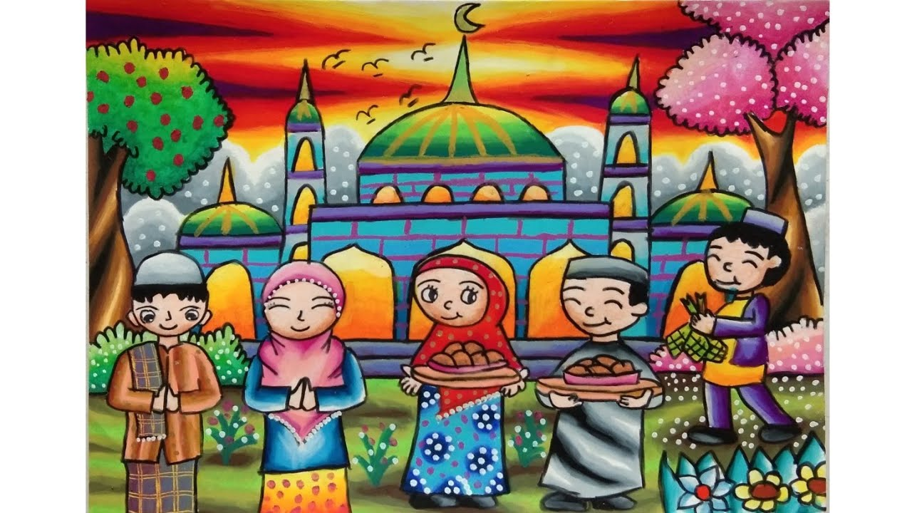 Cara Menggambar Dan Mewarnai Tema Hari Raya Idul Fitri Lebaran Youtube