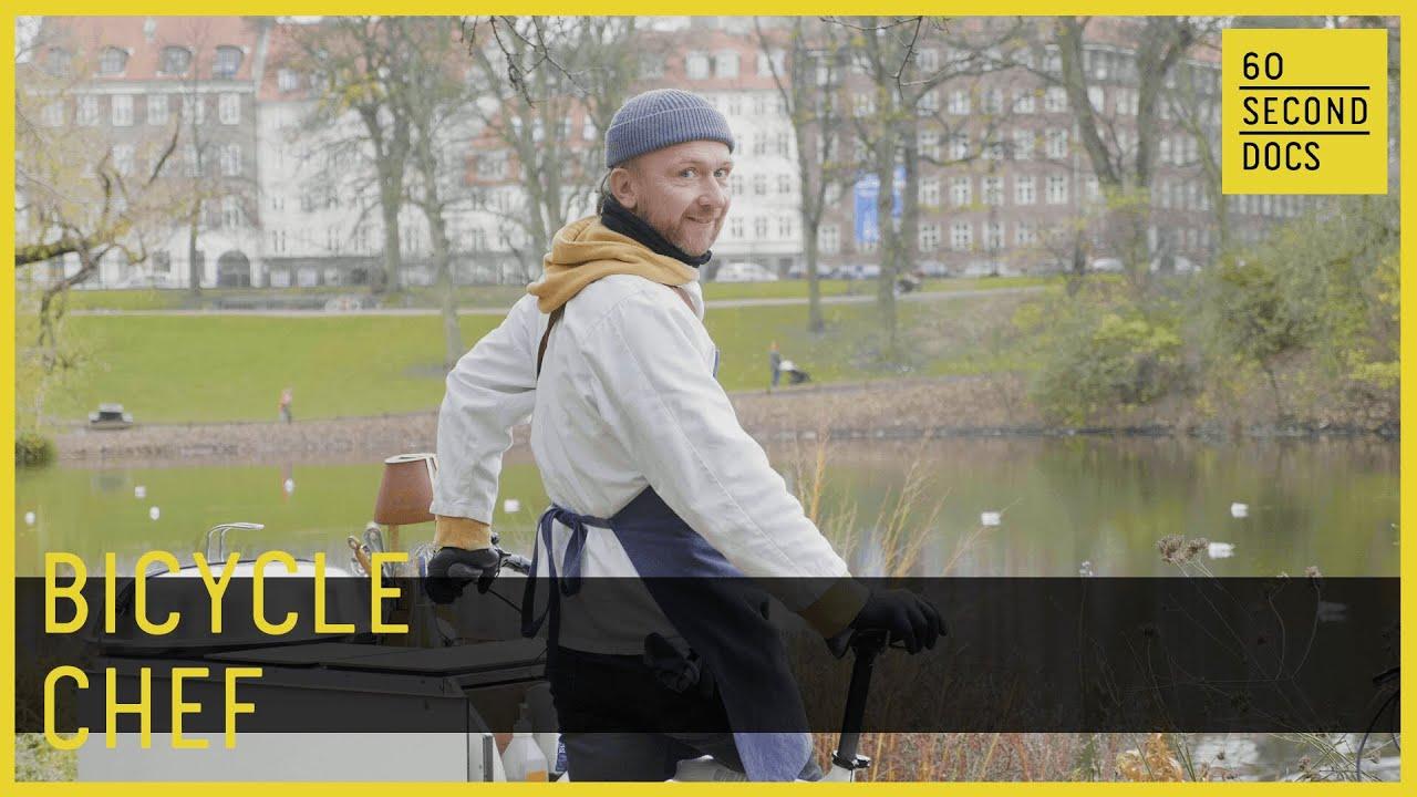 Bicycle Chef Cooks Food On a Bike