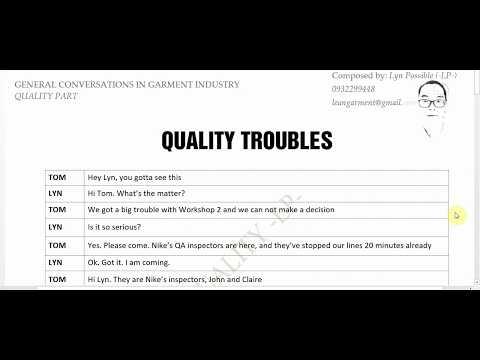 Tiếng Anh ngành May Mặc - Lĩnh vực QA/QC - Quality Troubles