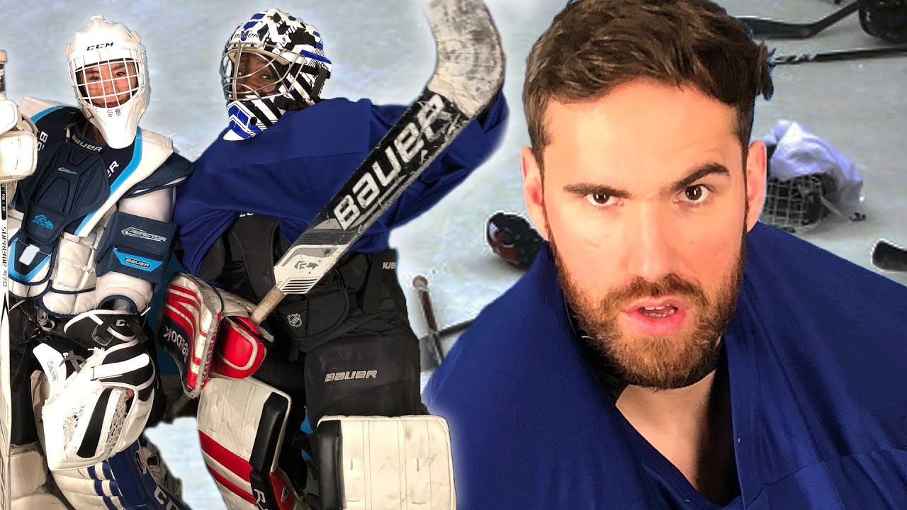 Drunk People Try Putting On Hockey Goalie Equipment Youtube