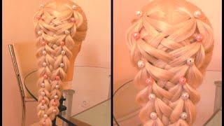 Коса с резиночками и бусинами. Очень просто. Видео-урок.