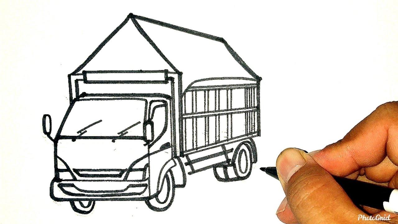 Menggambar Dan Mewarnai Mobil Truk Canter Bak Terpal Versi Dn Tutorial Indonesia Youtube