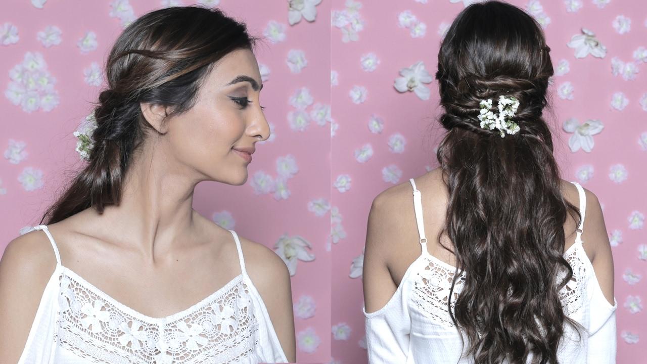 Floral Crisscross Half Up Easy Flower Hairdo Glamrs Hairstyles