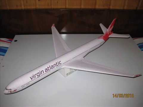 Papercraft Airbus A340-600 Virgin Atlantic Airways paper model 1:120
