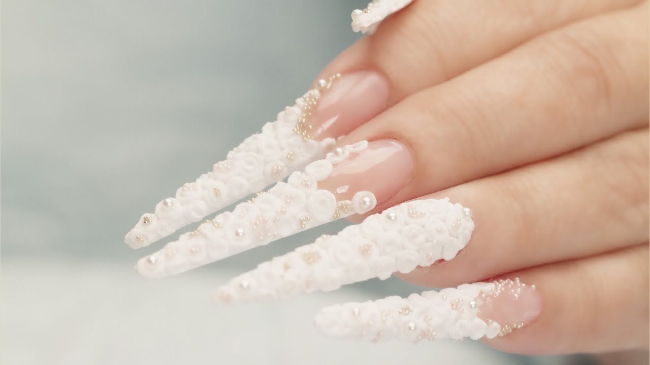 3d nail art acrylic roses stiletto