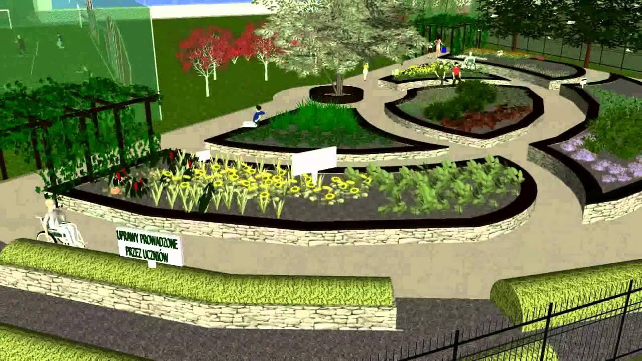 Virtual walk throught didactic garden hd gabion garden for Garden design studio