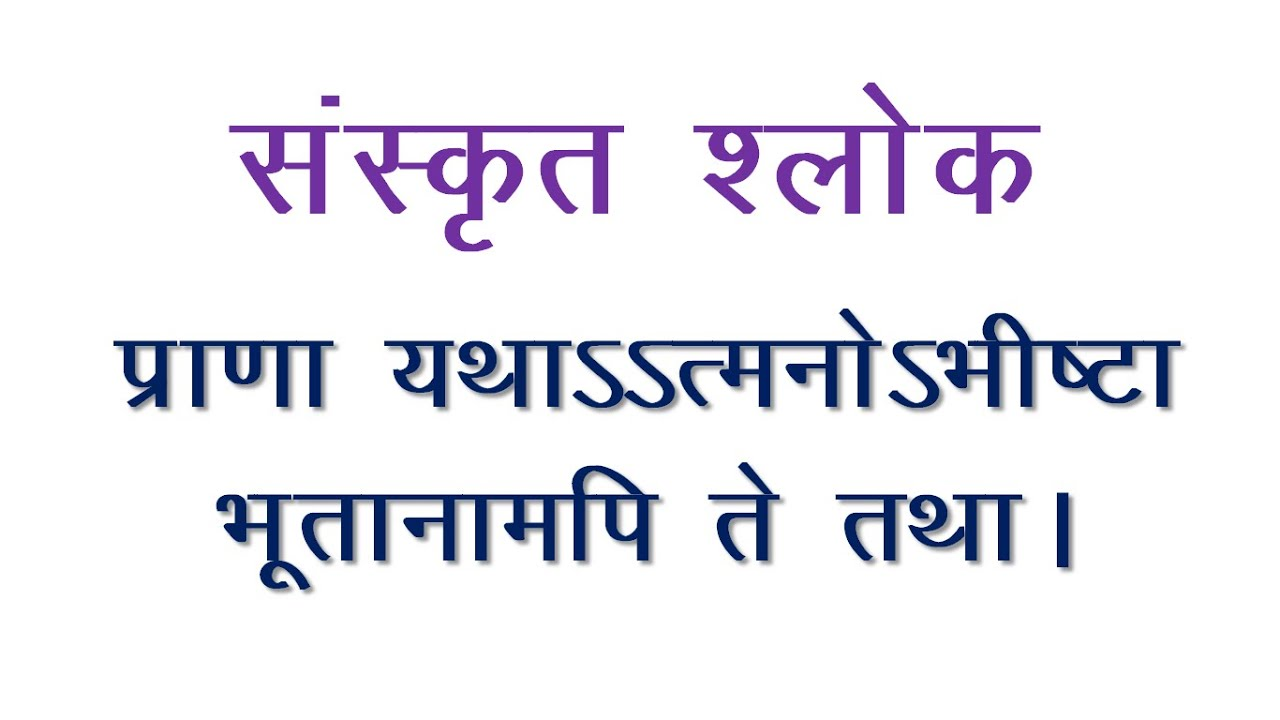 Sanskrit Slokas Praana Yathaatmanobhishta Meaning In Hindi Youtube