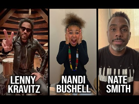 Lenny Kravitz and Nate Smith present Nandi Bushell with her new Custom Ludwig Legacy Mahogany Drums