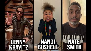 Lenny Kravitz and Nate Smith present Nandi Bushell with her new Custom Ludwig Legacy Mahogany Drums