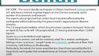 Lushan quake to have limited impact on China economy