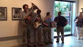 """Seven Nation Army"" tuba power quartet invaded the Sketchy Neighbors at Nicole Longnecker Gallery"