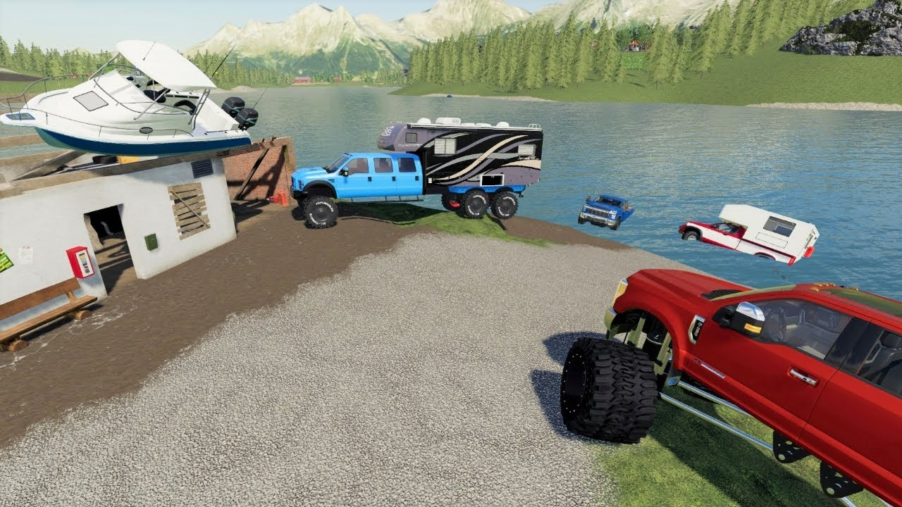 Rescuing campers from flooded island   Farming Simulator 19 camping and mudding