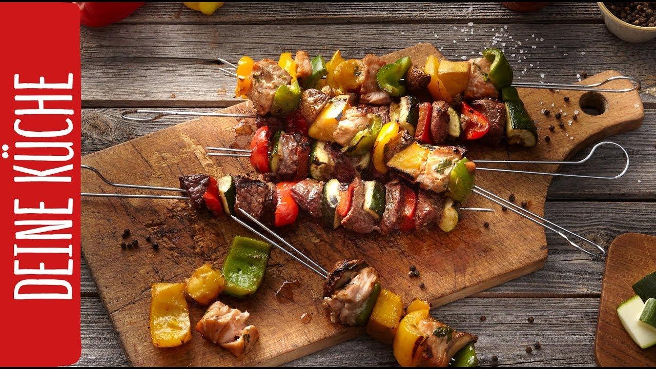 Grill-Spieße - mal mit Fisch und mal mit Fleisch | REWE Deine Küche