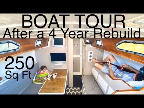 BOAT TOUR of Our 50 YEAR OLD SAILBOAT|Minimalist Living 250 sq ft| Interior Remodel|P2|E10