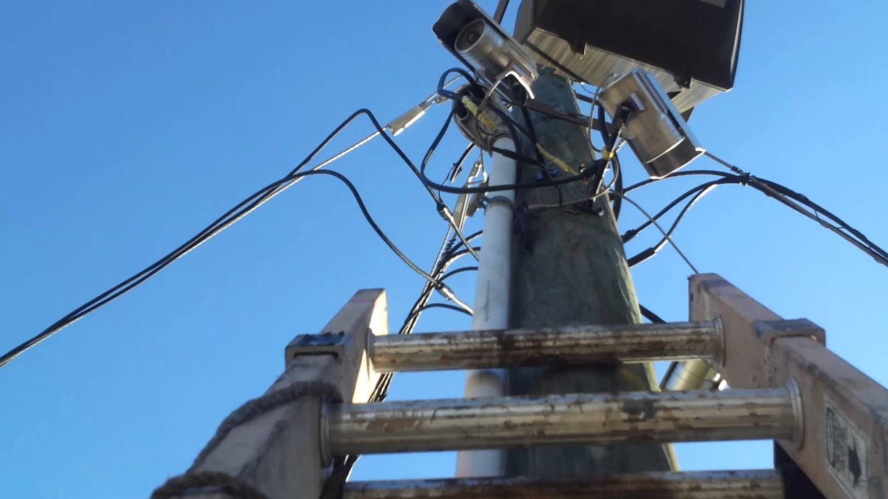 CCTV Security Camera Install on Power Pole - YouTube