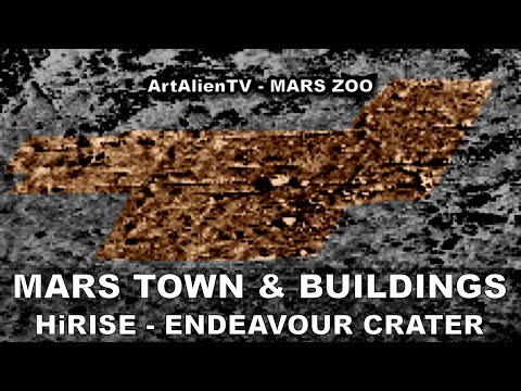 MARS TOWN & LARGE BUILDINGS: HiRISE Endeavour Crater City? A