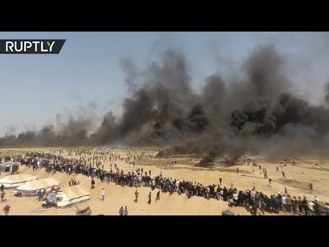 Drone footage captures 'Great March of Return' protests at Israel-Gaza border