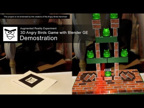 Augmented Reality Experiment - Angry Bird 3D w/ Blender Game Engine