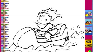 Jet Ski Coloring Pages For Kids - Jet Ski Coloring Pages