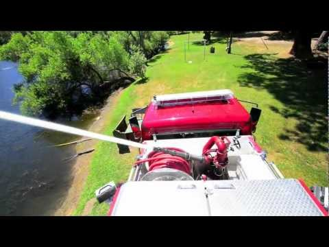 How fast can a fire engine drain its tank?