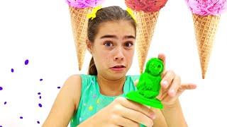 Nastya und Mia vorgeben spielen Eis verkaufen