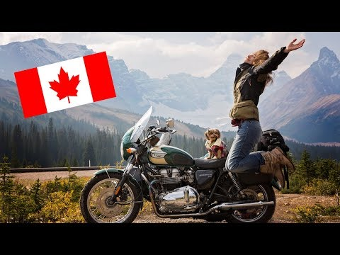 GIRL. DOG. MOTORCYCLE With SIDECAR. CANADA = EPIC !
