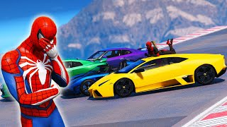 SPIDERMAN Collection Super Cars with Challenge Overcome Obstacles on the ramp - GTA V Superheroes