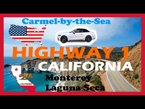 (HD1609) 5 minutes in Carmel, Monterey, highway 1 Mustang, Laguna Seca -  California - RoadTrip USA