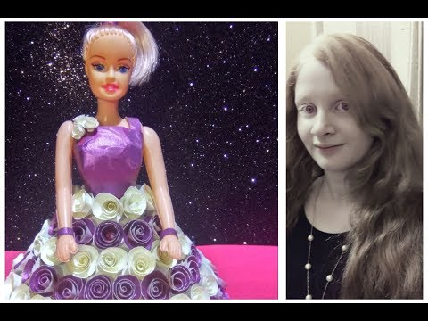 DIy Barbie's dress with paper /How to Make Paper Dress / Paper Doll Wedding Dress