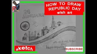 26 JANUARY, how to draw sketch of wishing REPUBLIC DAY