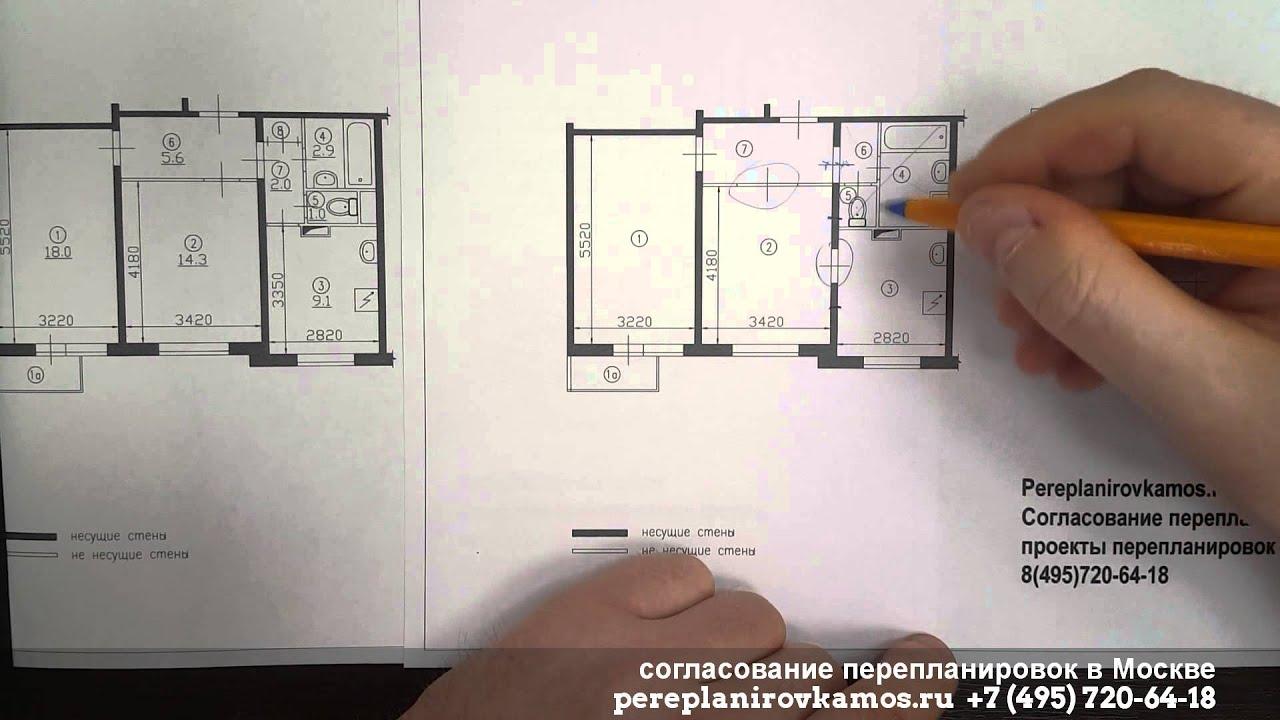 Перепланировка двухкомнатной квартиры в доме серии п-3 - пои.