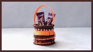 DIY Paper Basket | How to make easy & simple paper basket for chocolates | Christmas Gift Basket
