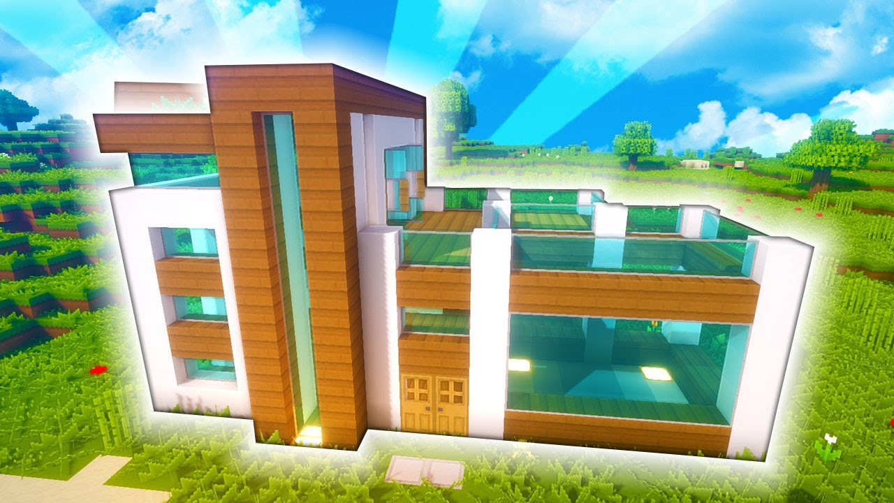 Minecraft casa moderna de con piscina tutorial for Casa moderna minecraft 0 10 4