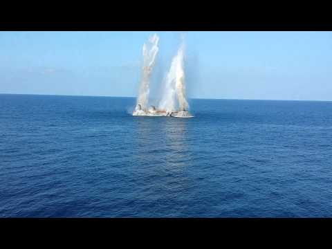 Offshore platform removal with explosives.