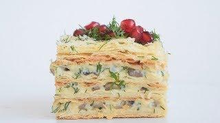 Закусочный торт на Новогодний стол С грибами картофелем со сливками зеленью и сыром