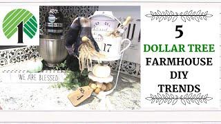 DOLLAR TREE DIYS | 5 FARMHOUSE Trends | Rae Dunn | Gnome| Wood Bead Garland | All under $5!!