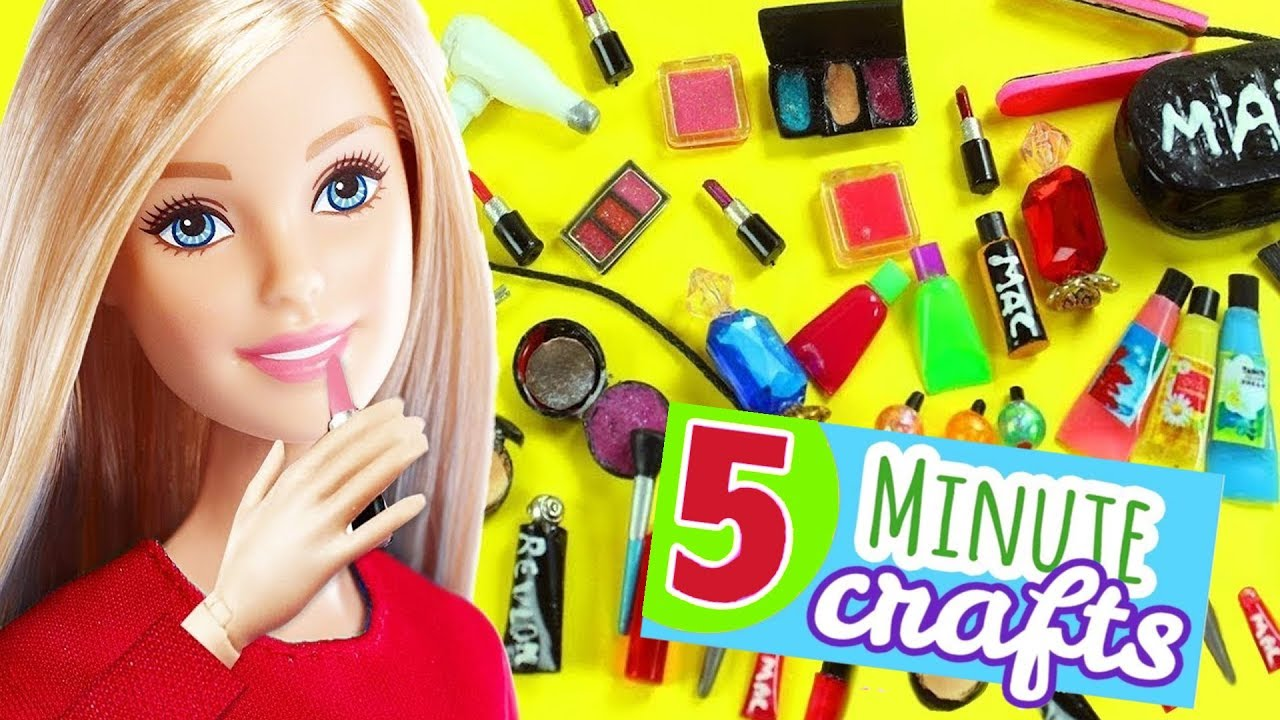 100 DIY Miniature Barbie Dollhouse Makeup Accessories