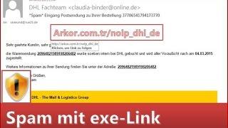 Achtung: Schadhafte Emails vom DHL Fachteam zu Ihrer Bestellung