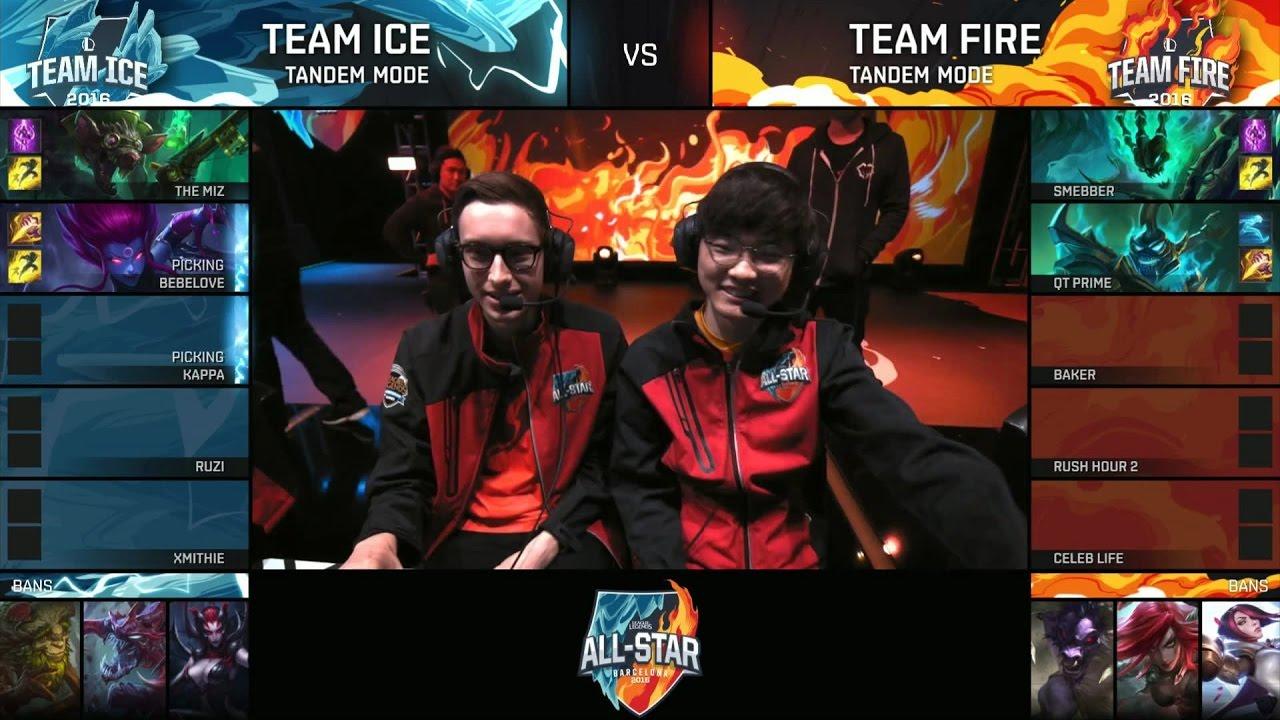 Baker (Bjergsen + Faker ) – Team Ice vs Team Fire – Tandem Mode – ALL STAR 2016