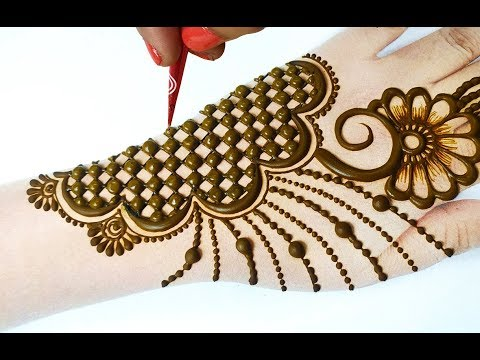 Stylish Mehndi Design - चेक वाली सूंदर मेहँदी डिज़ाइन लगाना सीखे - New Mehndi Design Backhand