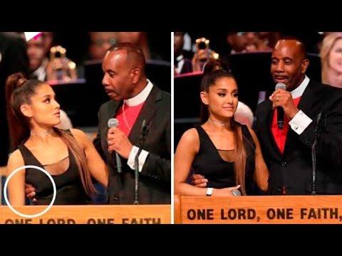 Un pastor intenta tocarle los pechos a Ariana Grande en el funeral de Aretha Franklin