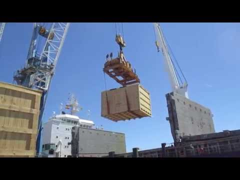 Cargo Survey - Supervision of break bulk wooden boxes cargo in a ship at Sagunto Port Spain