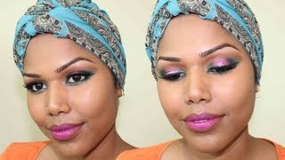 Smokey Green and Glittery Pink makeup Thumbnail